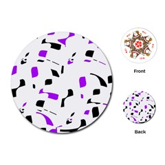 Purple, black and white pattern Playing Cards (Round)