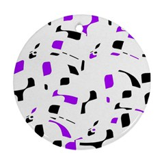 Purple, black and white pattern Round Ornament (Two Sides)