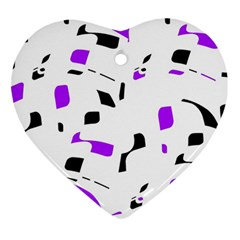 Purple, black and white pattern Heart Ornament (2 Sides)