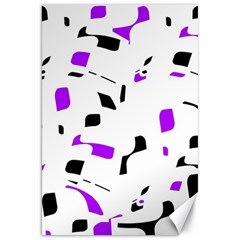 Purple, black and white pattern Canvas 20  x 30