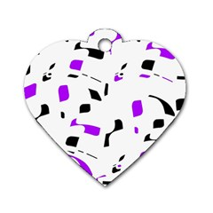 Purple, black and white pattern Dog Tag Heart (Two Sides)