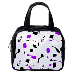 Purple, black and white pattern Classic Handbags (One Side)