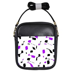 Purple, black and white pattern Girls Sling Bags
