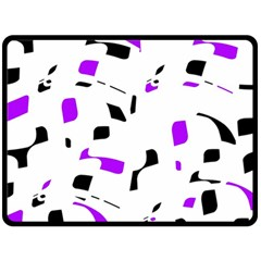 Purple, black and white pattern Fleece Blanket (Large)