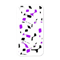 Purple, black and white pattern Apple iPhone 4 Case (White)