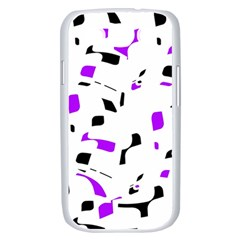 Purple, black and white pattern Samsung Galaxy S III Case (White)