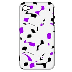 Purple, black and white pattern Apple iPhone 4/4S Hardshell Case (PC+Silicone)