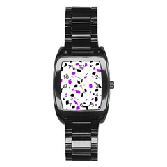 Purple, black and white pattern Stainless Steel Barrel Watch