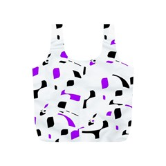 Purple, black and white pattern Full Print Recycle Bags (S)