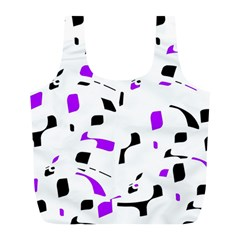 Purple, black and white pattern Full Print Recycle Bags (L)