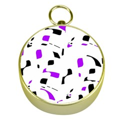 Purple, black and white pattern Gold Compasses