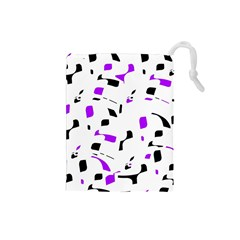 Purple, black and white pattern Drawstring Pouches (Small)