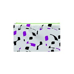 Purple, black and white pattern Cosmetic Bag (XS)