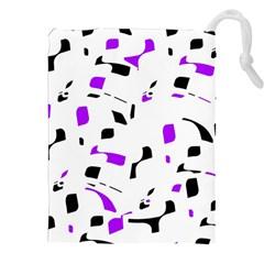 Purple, Black And White Pattern Drawstring Pouches (xxl)