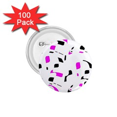 Magenta, black and white pattern 1.75  Buttons (100 pack)