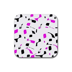 Magenta, black and white pattern Rubber Square Coaster (4 pack)