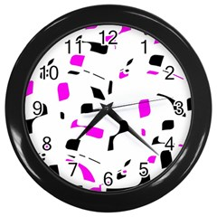 Magenta, black and white pattern Wall Clocks (Black)