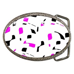 Magenta, black and white pattern Belt Buckles