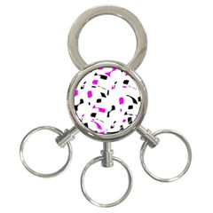 Magenta, black and white pattern 3-Ring Key Chains