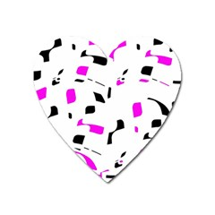 Magenta, black and white pattern Heart Magnet