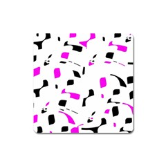 Magenta, black and white pattern Square Magnet