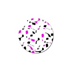 Magenta, black and white pattern Golf Ball Marker