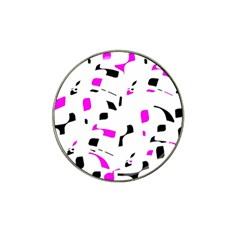 Magenta, black and white pattern Hat Clip Ball Marker (4 pack)