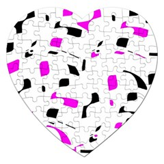 Magenta, black and white pattern Jigsaw Puzzle (Heart)