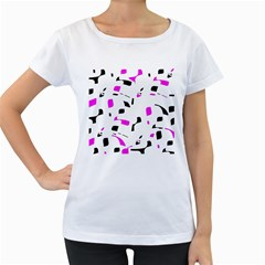 Magenta, black and white pattern Women s Loose-Fit T-Shirt (White)