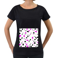 Magenta, black and white pattern Women s Loose-Fit T-Shirt (Black)