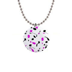 Magenta, black and white pattern Button Necklaces