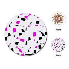 Magenta, black and white pattern Playing Cards (Round)