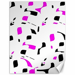 Magenta, black and white pattern Canvas 12  x 16