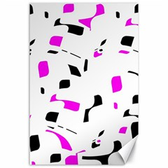 Magenta, black and white pattern Canvas 24  x 36