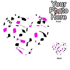 Magenta, black and white pattern Playing Cards 54 (Heart)