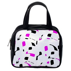 Magenta, black and white pattern Classic Handbags (One Side)