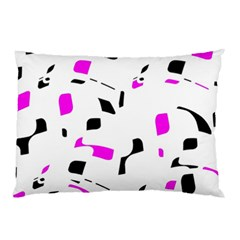 Magenta, black and white pattern Pillow Case