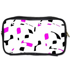 Magenta, black and white pattern Toiletries Bags 2-Side