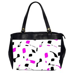 Magenta, black and white pattern Office Handbags (2 Sides)