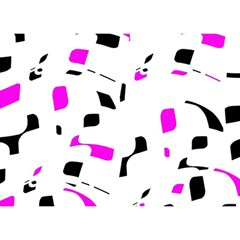 Magenta, Black And White Pattern Birthday Cake 3d Greeting Card (7x5)