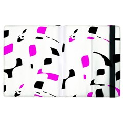 Magenta, black and white pattern Apple iPad 3/4 Flip Case
