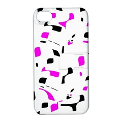 Magenta, black and white pattern Apple iPhone 4/4S Hardshell Case with Stand