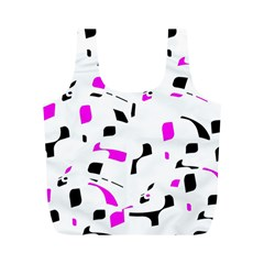 Magenta, black and white pattern Full Print Recycle Bags (M)