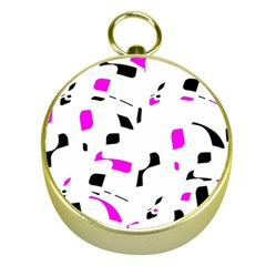 Magenta, black and white pattern Gold Compasses