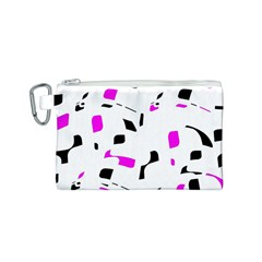 Magenta, black and white pattern Canvas Cosmetic Bag (S)