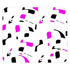 Magenta, black and white pattern Double Sided Flano Blanket (Small)