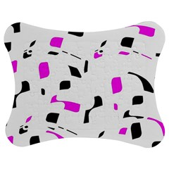 Magenta, black and white pattern Jigsaw Puzzle Photo Stand (Bow)
