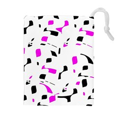 Magenta, black and white pattern Drawstring Pouches (Extra Large)