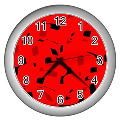 Red and black pattern Wall Clocks (Silver)