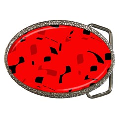 Red and black pattern Belt Buckles